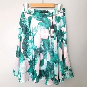 Guess Floral Green & White Midi Skirt Size S